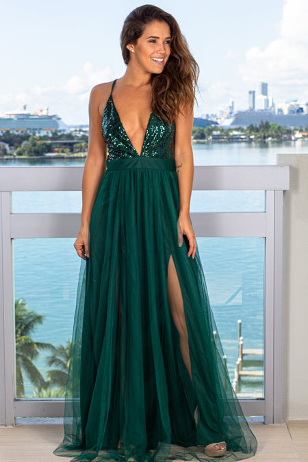 Hunter Green Tulle Maxi Dress with Sequin Top