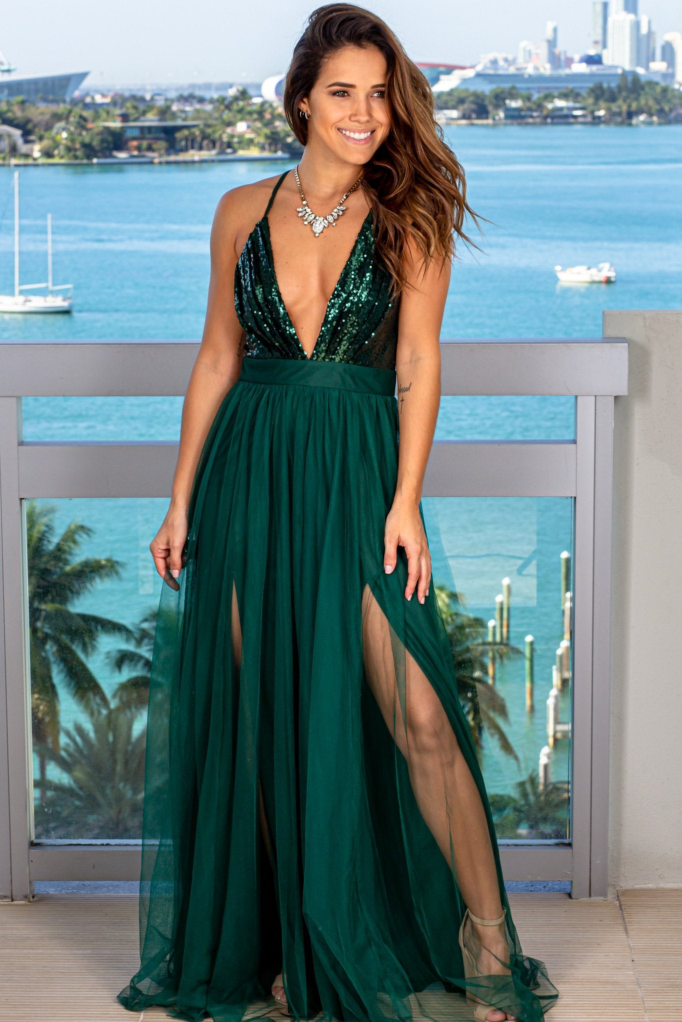 Hunter Green Tulle Maxi Dress with Sequin Top and Criss Cross Back