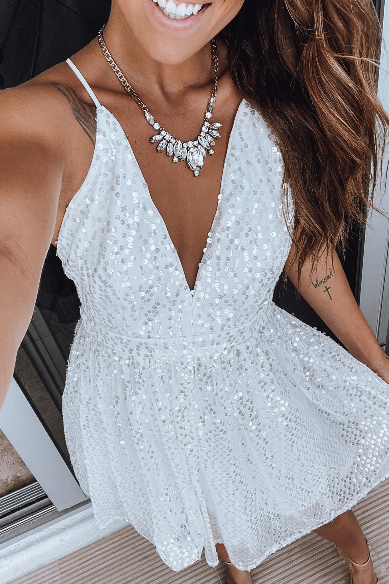 Ivory Short Dress with Sequins