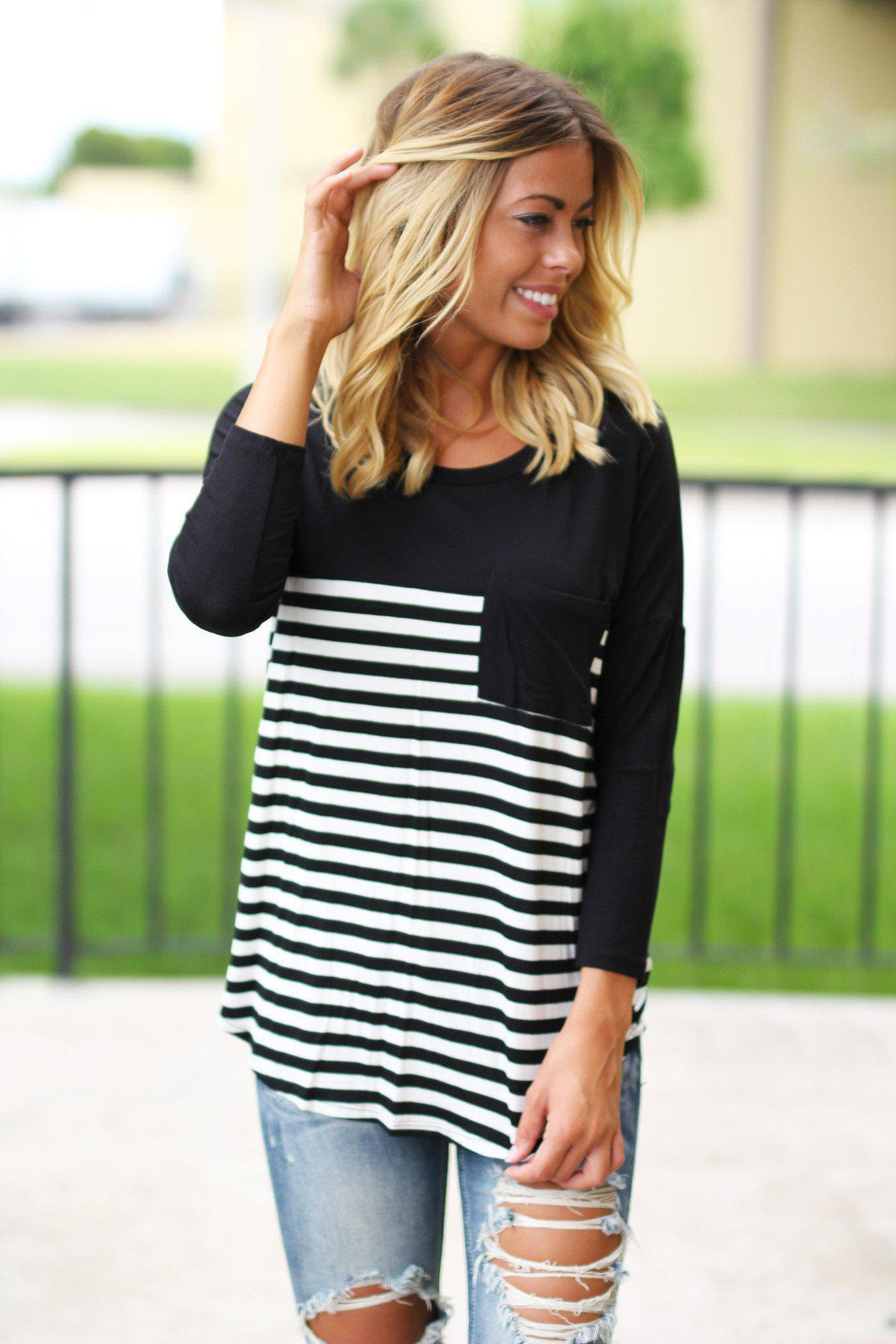 striped black top