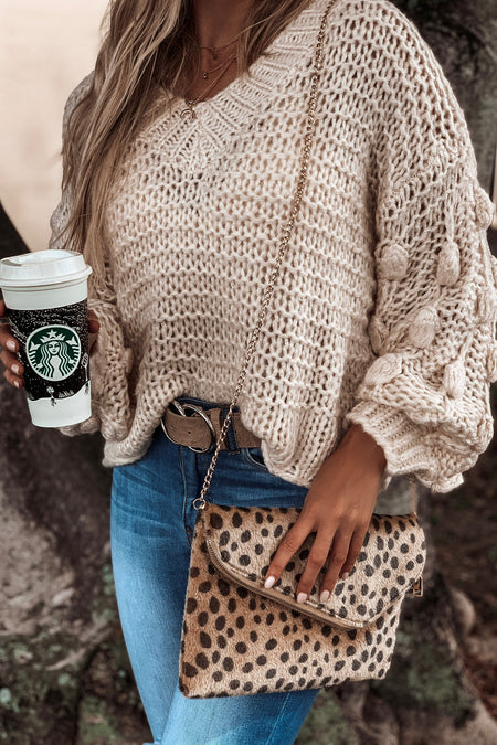Cream V-Neck Knit Sweater