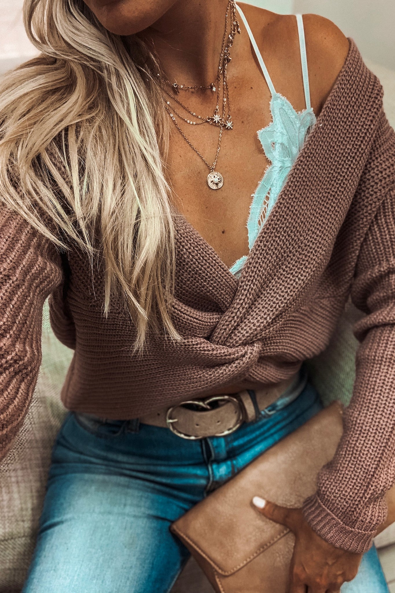 Mauve Sweater with Knot