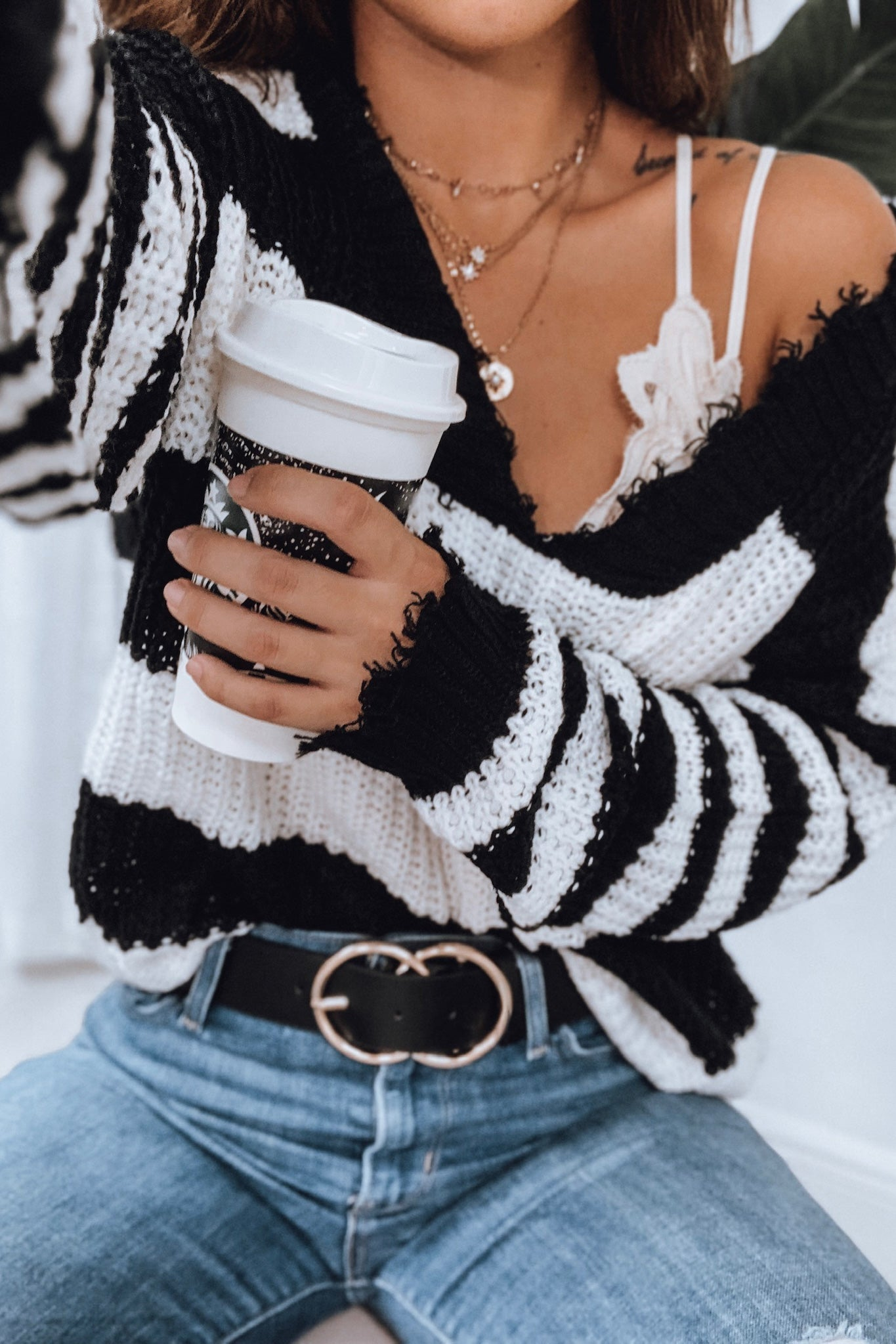 Black Striped Distressed Sweater