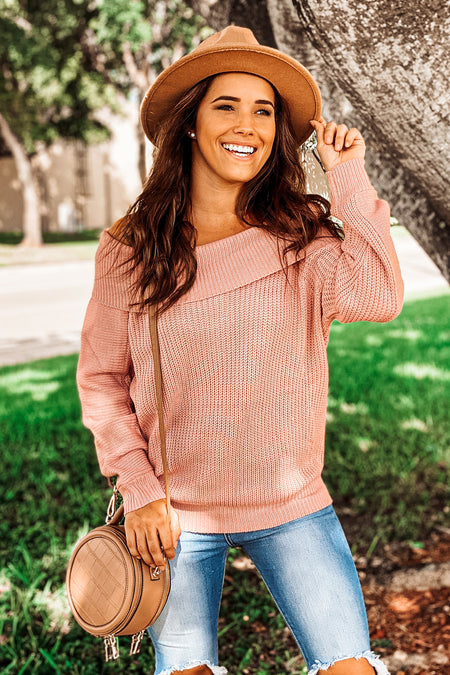 Mauve Knit Off Shoulder Sweater