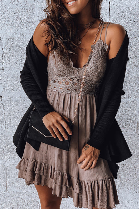 Cocoa Lace Top Short Dress