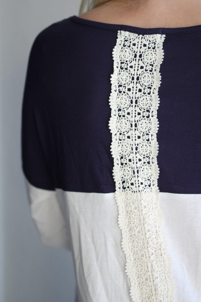 navy cute top with crochet back detail