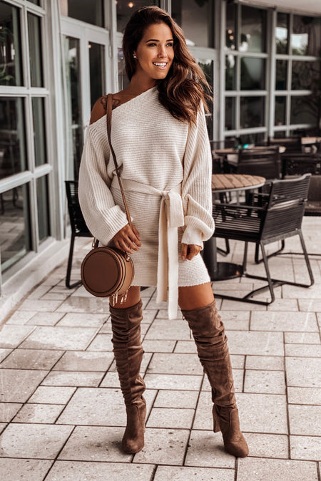 Ivory One Shoulder Sweater Dress