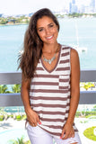 Brown Striped V-Neck Top with Pocket