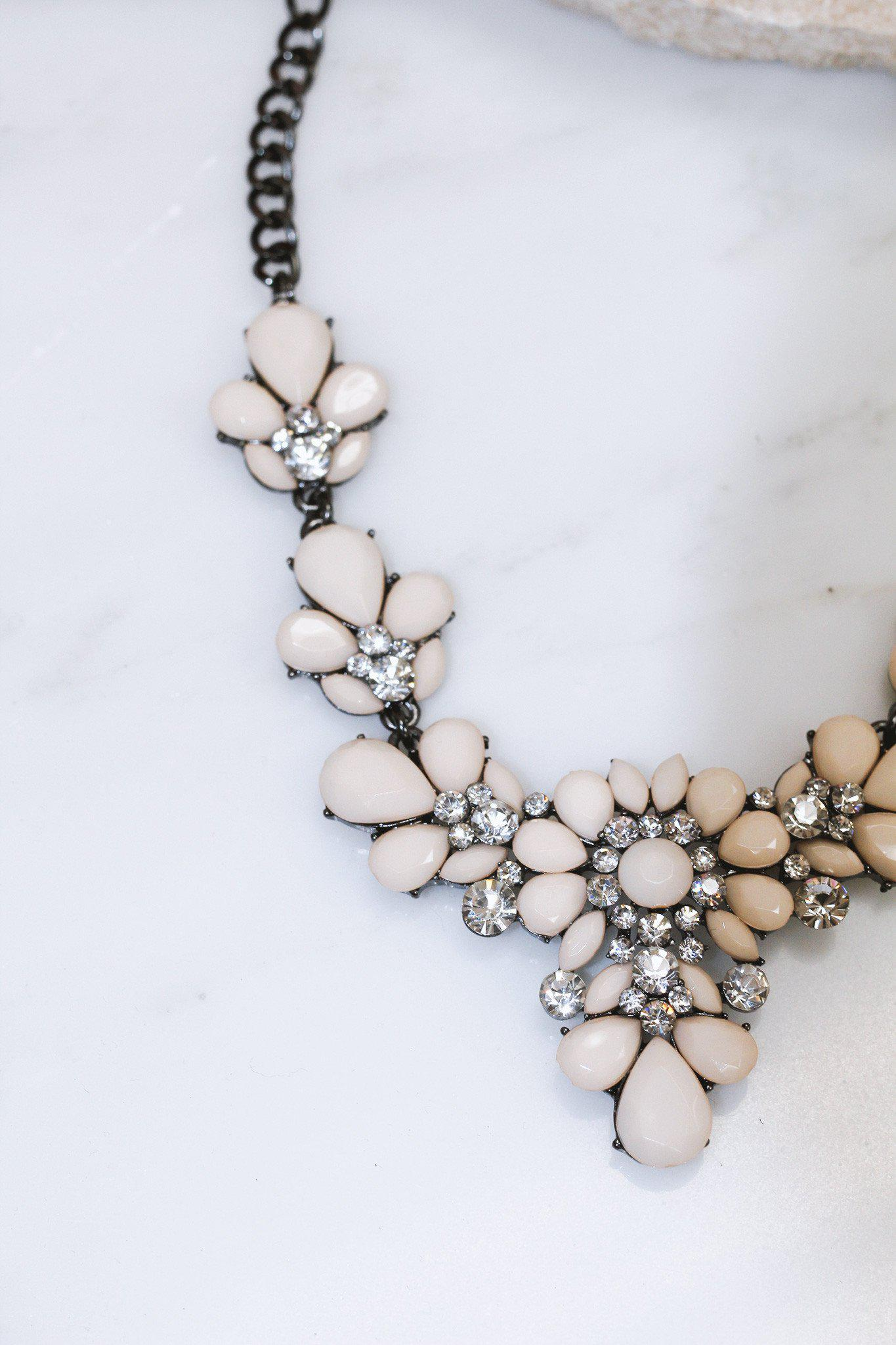 Natural Beaded Necklace with Crystal Design