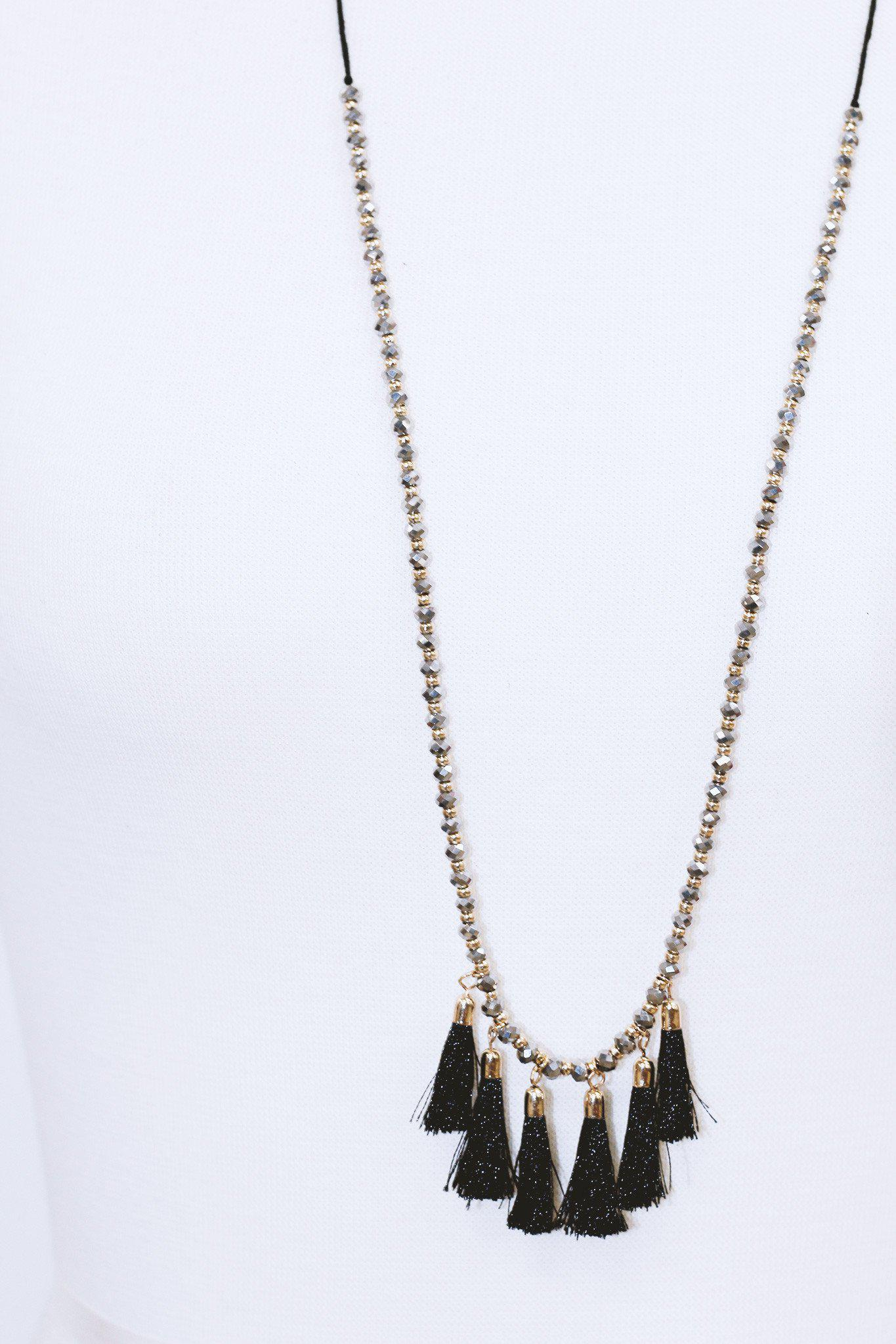 Black Tassel Necklace with Glass Beads
