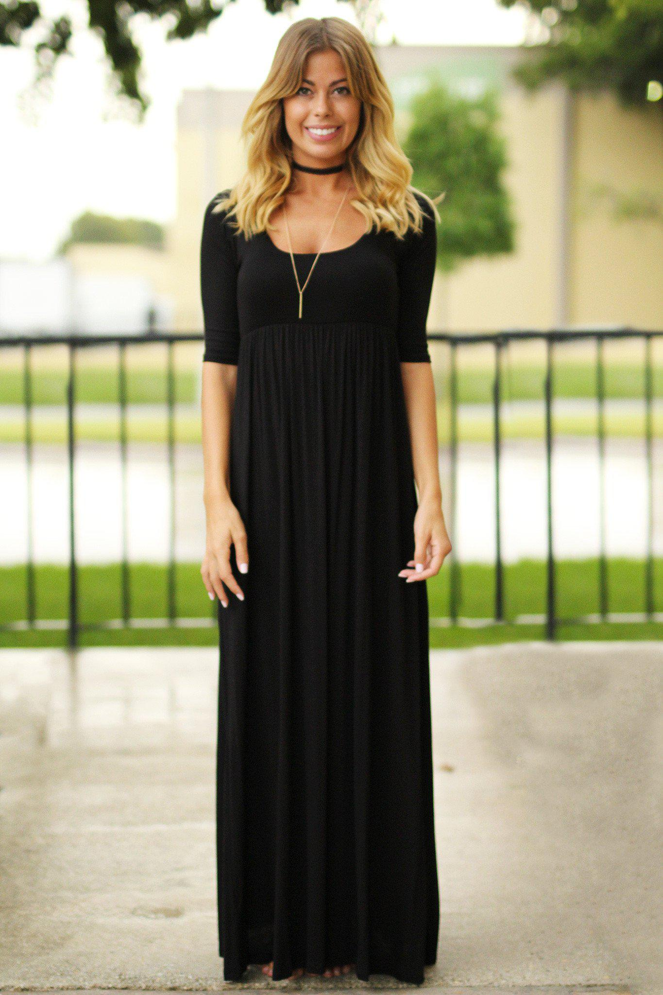 black 3/4 sleeve maxi dress