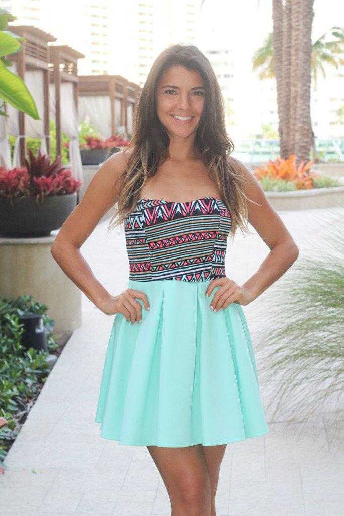 Mint Short Dress With Printed Top