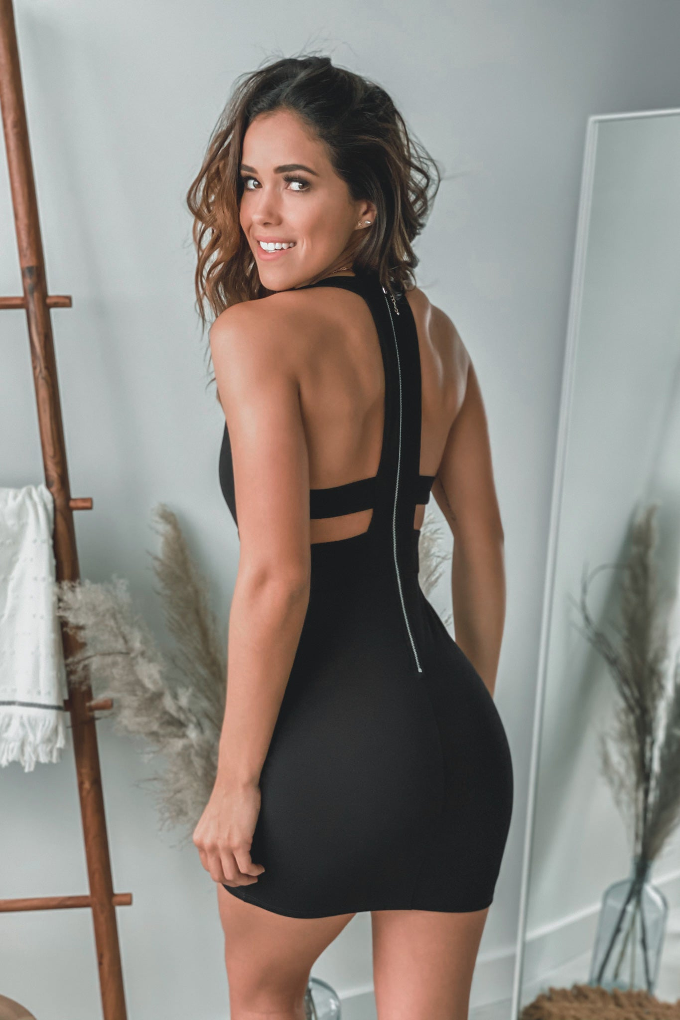 Black Short Dress with Strap Back Detail