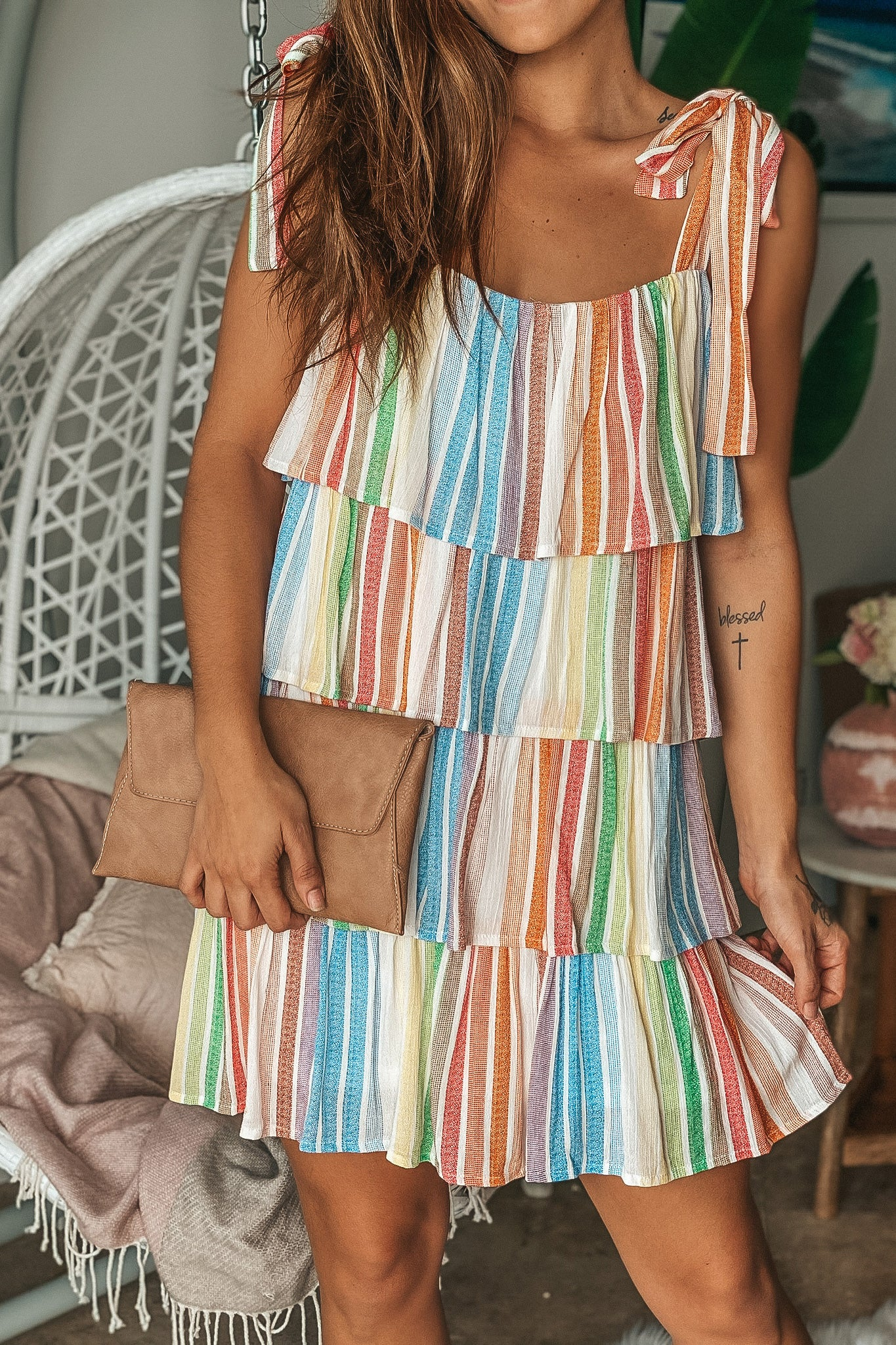 Rainbow Layered Short Dress