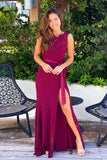 Burgundy High Neck Lace Maxi Dress with Tie Waist