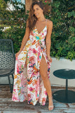 Ivory and Pink Printed Maxi Dress