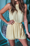 Yellow Halter Neck Romper with Tie Waist