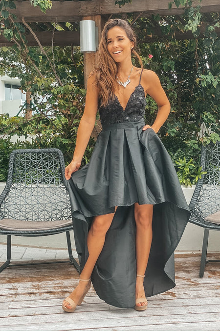 Black High Low Dress with Sequin Detail