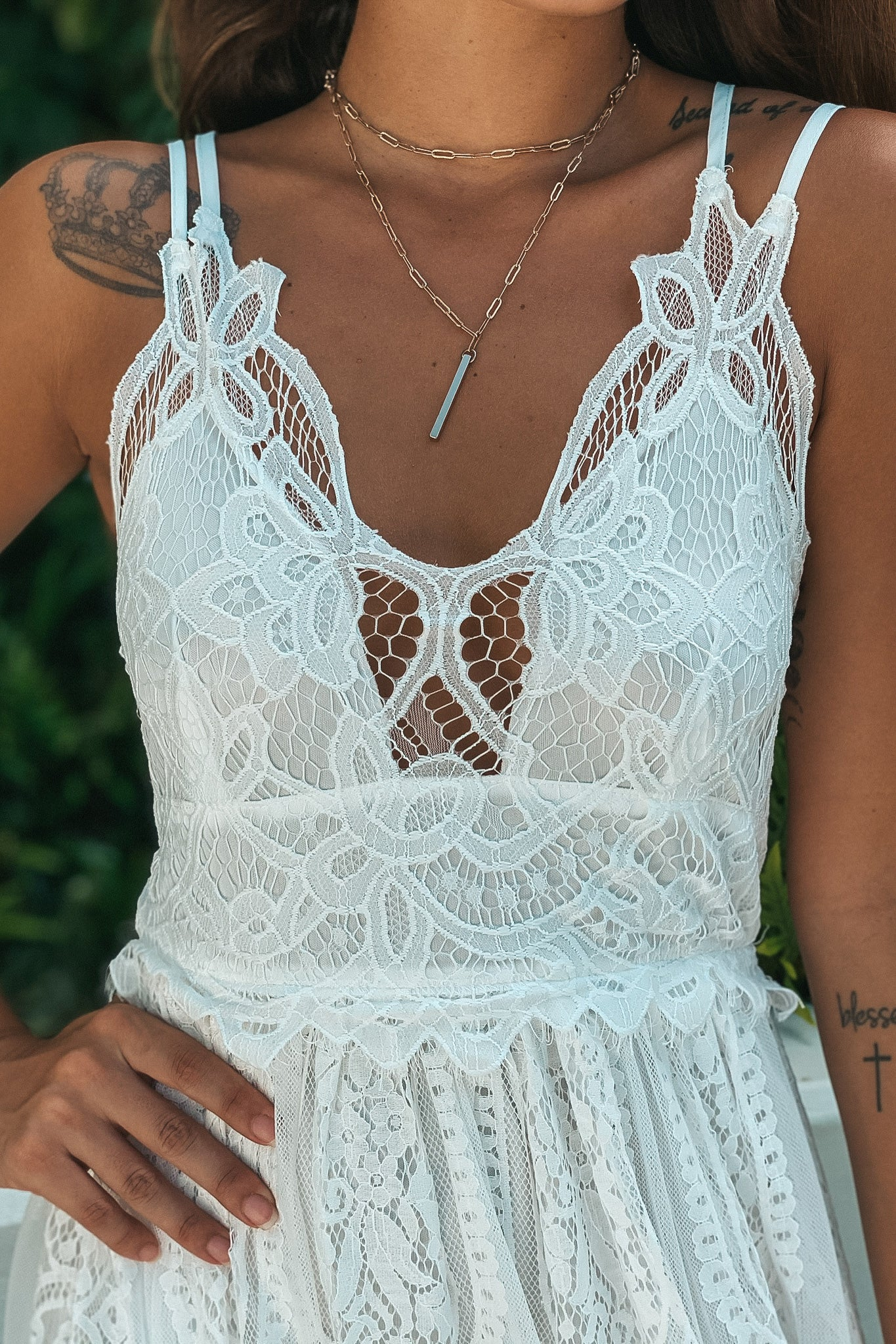 Off White Maxi Dress with Lace Skirt
