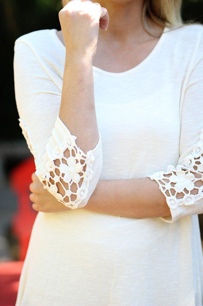 Ivory Asymmetrical Tunic with Crochet Sleeves