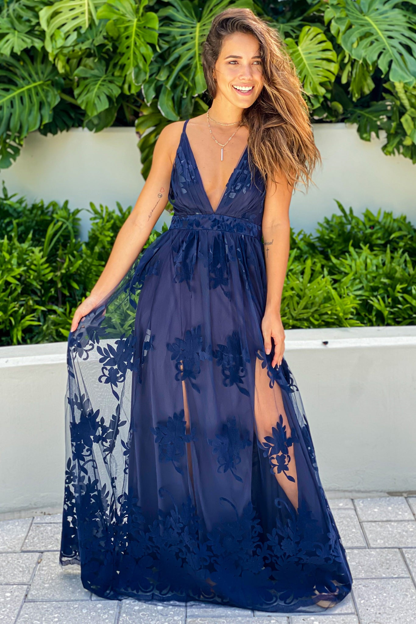 Navy Floral Tulle Maxi Dress with Criss Cross Back