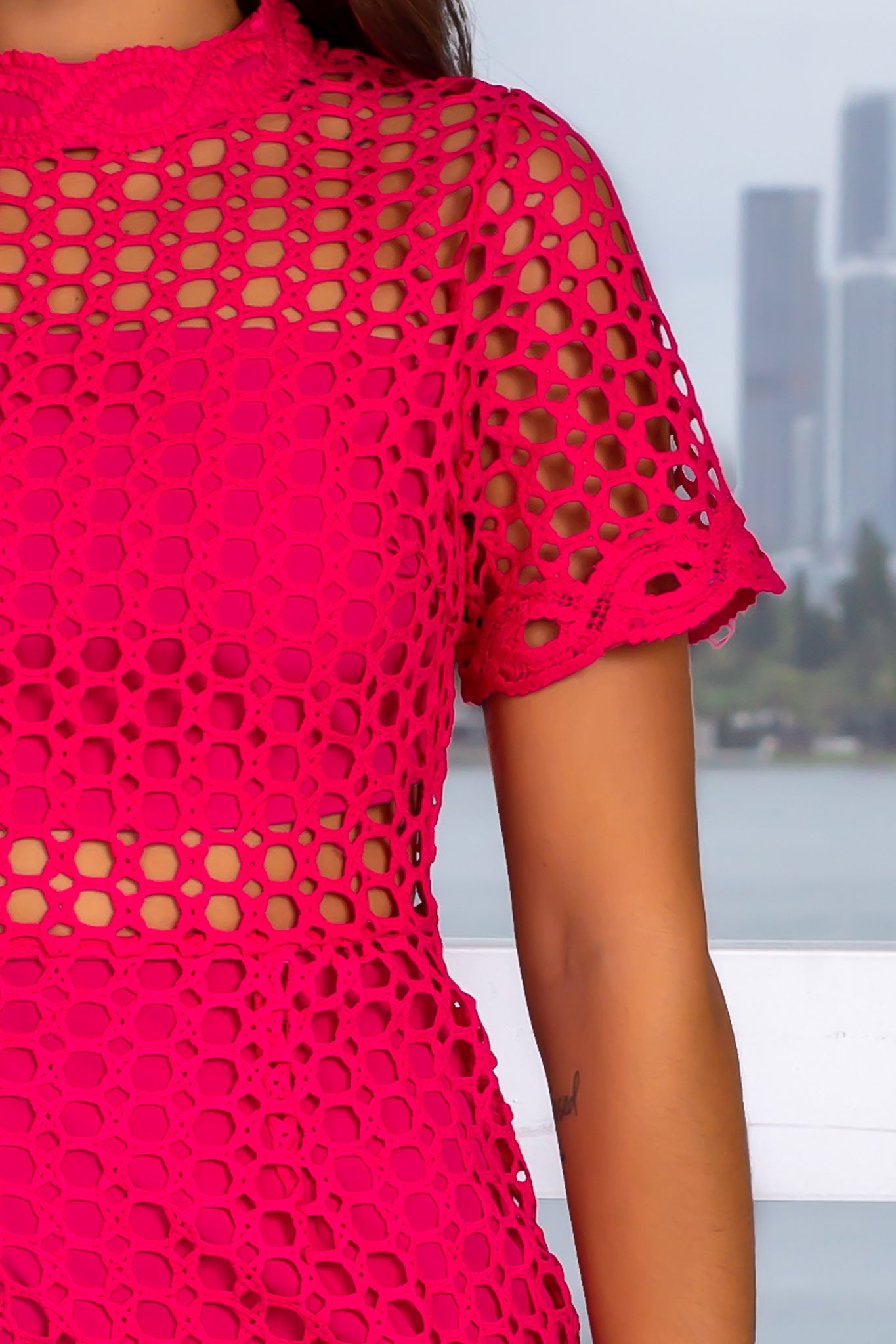 Fuchsia Crochet Midi Dress