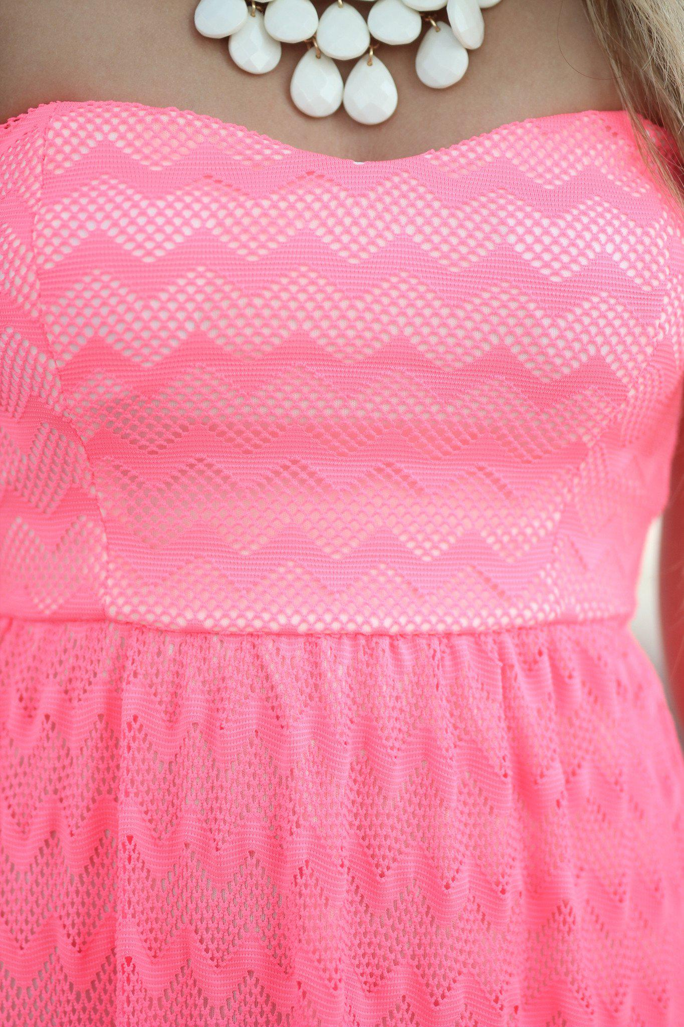Neon Pink Chevron Maxi Dress With Back Bow