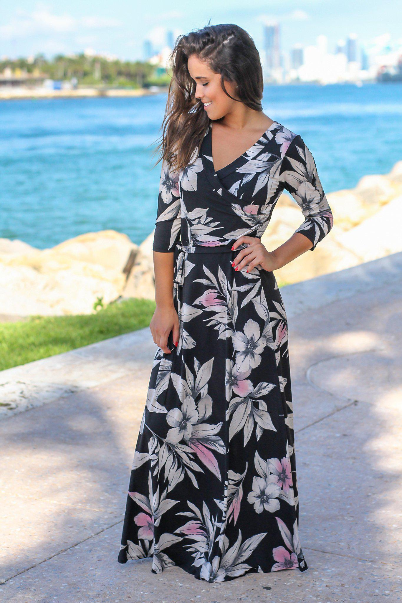 black floral wrap maxi dress with 3/4 sleeves