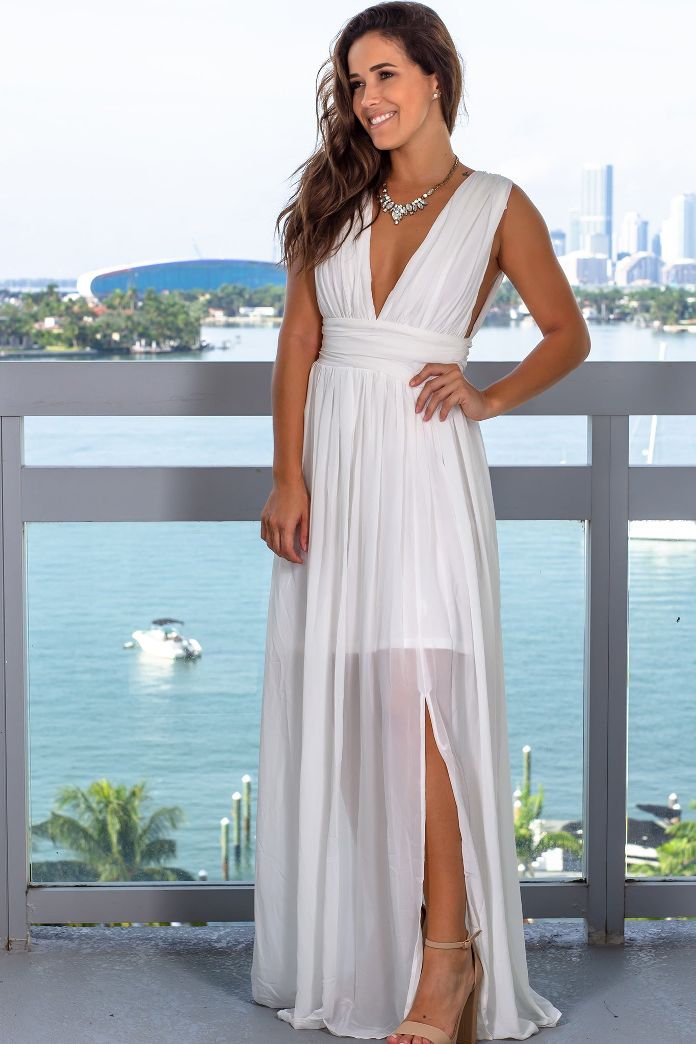 Ivory Pleated V-Neck Maxi Dress