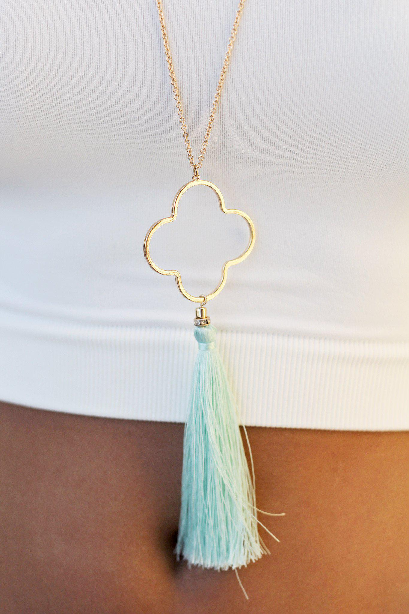 Gold Cutout Pendant with Mint Tassel