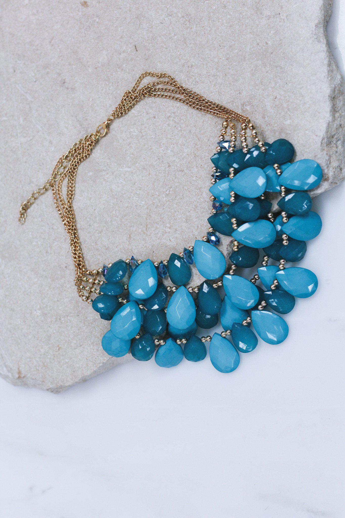 Four Layered Teal Stone Necklace