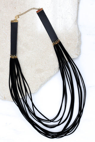 Multi Layered Suede and Faux Leather Necklace