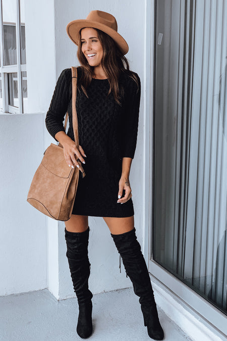 Black Knit Sweater Dress with 3/4 Sleeves