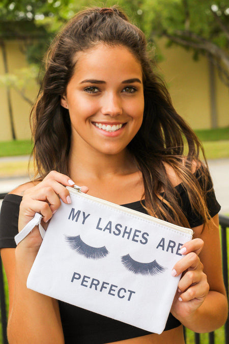 """My Eyelashes Are Perfect"" Make Up Bag"