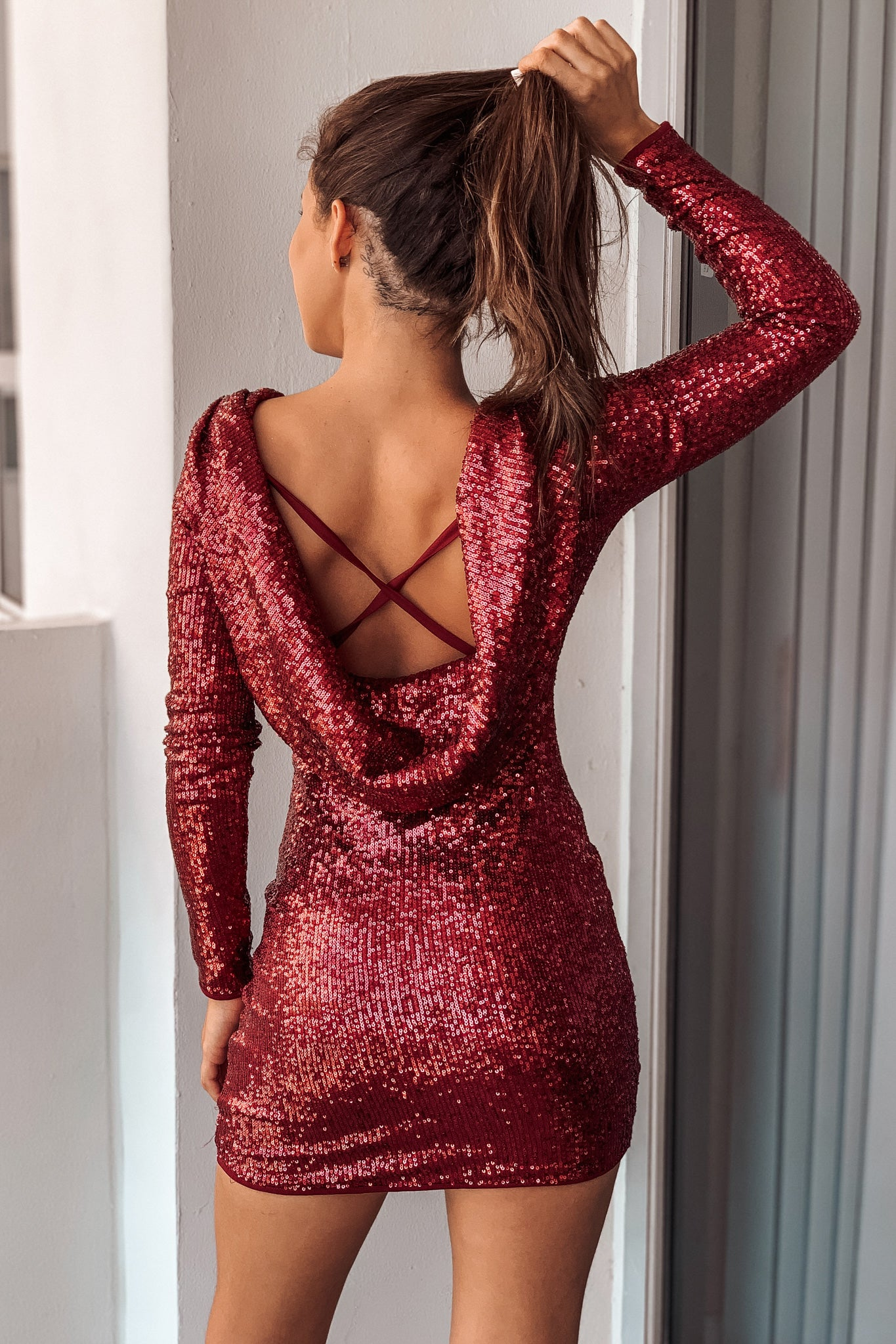 Burgundy Sequined Short Dress with Open Back