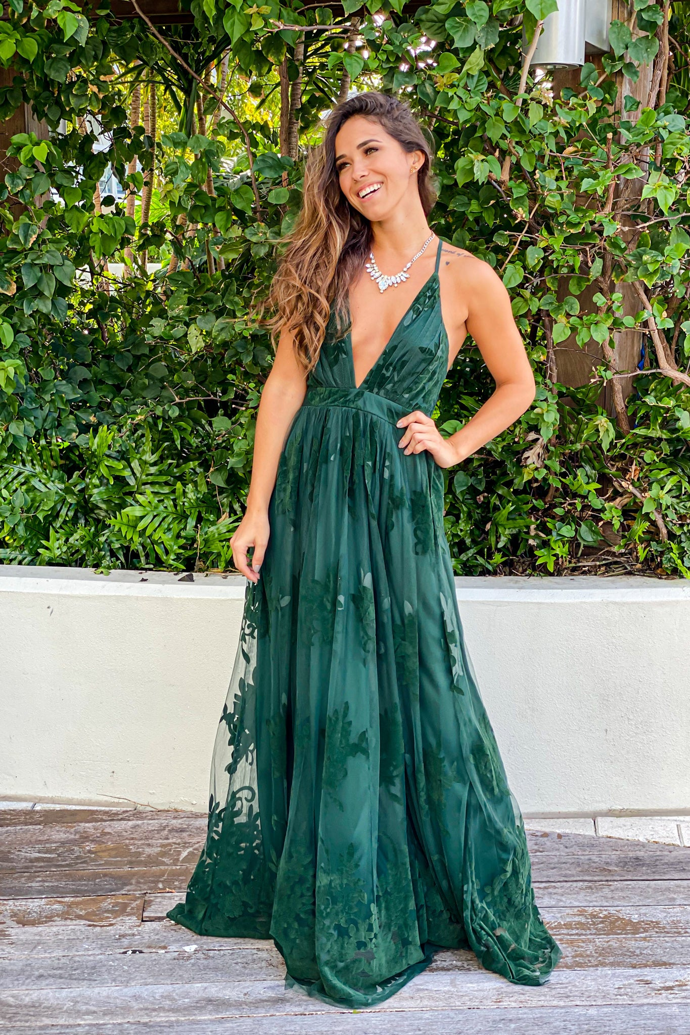 Hunter Green Floral Tulle Maxi Dress with Criss Cross Back