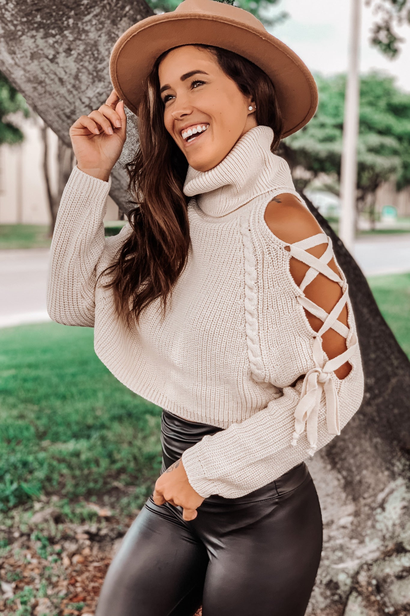 Cream Cold Shoulder Sweater