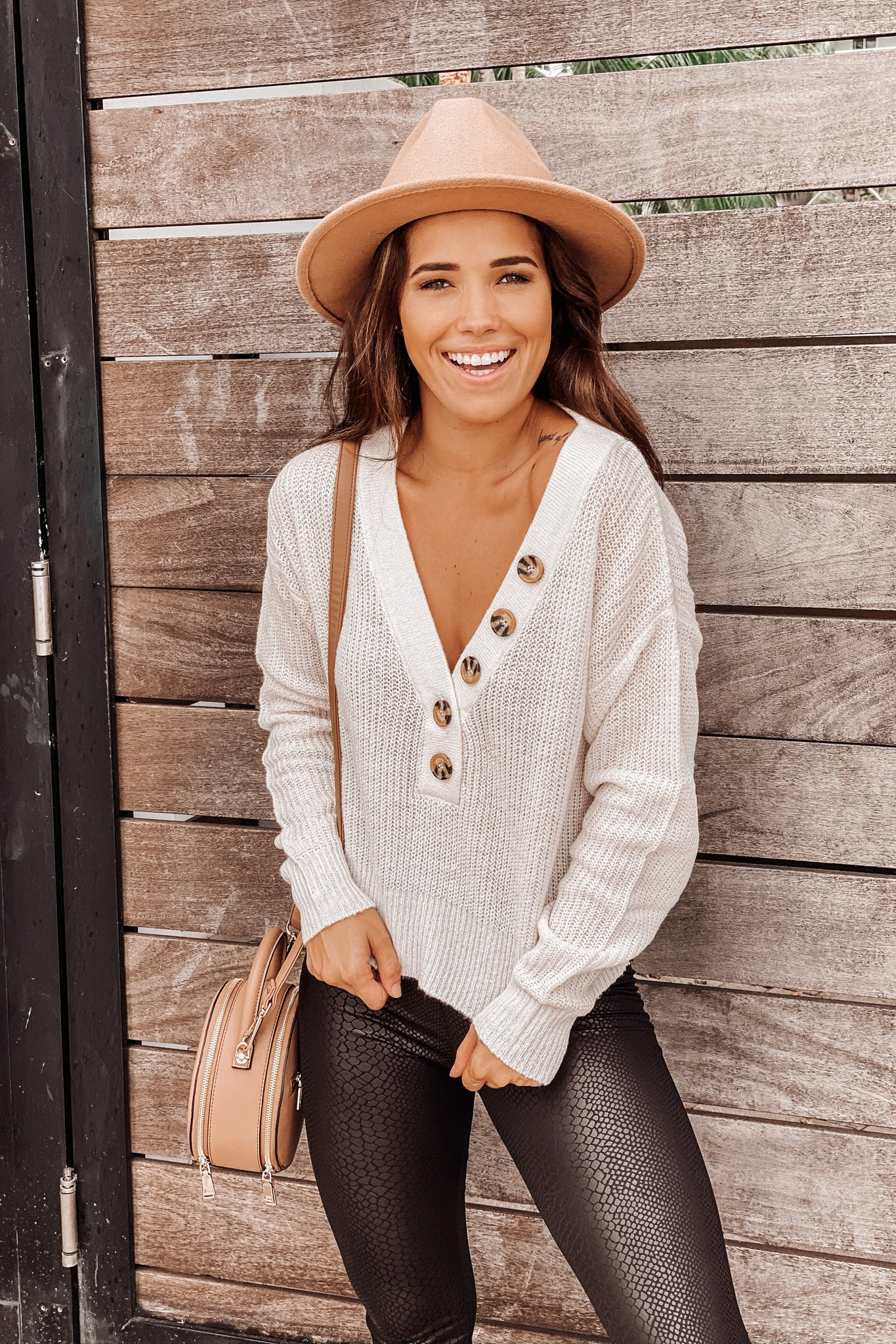 Ivory Cropped Sweater with Button Detail