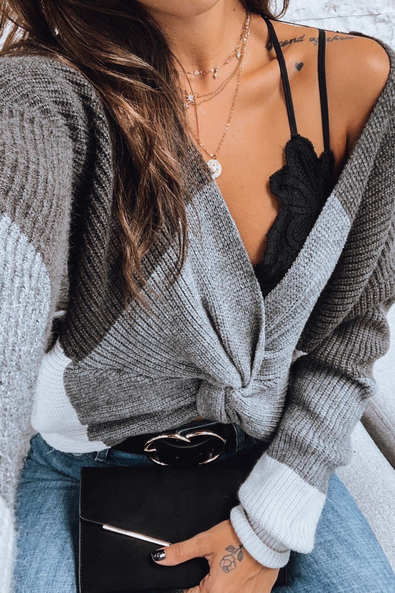 Charcoal Color Block Sweater
