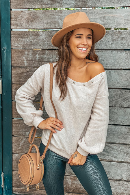 Taupe Sweater with Button Detail