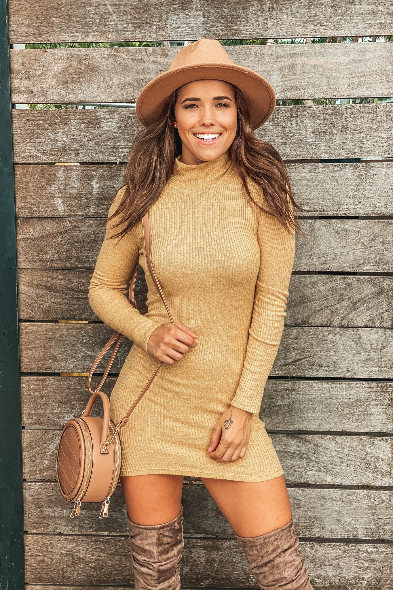 Mustard High Neck Bodycon Short Dress