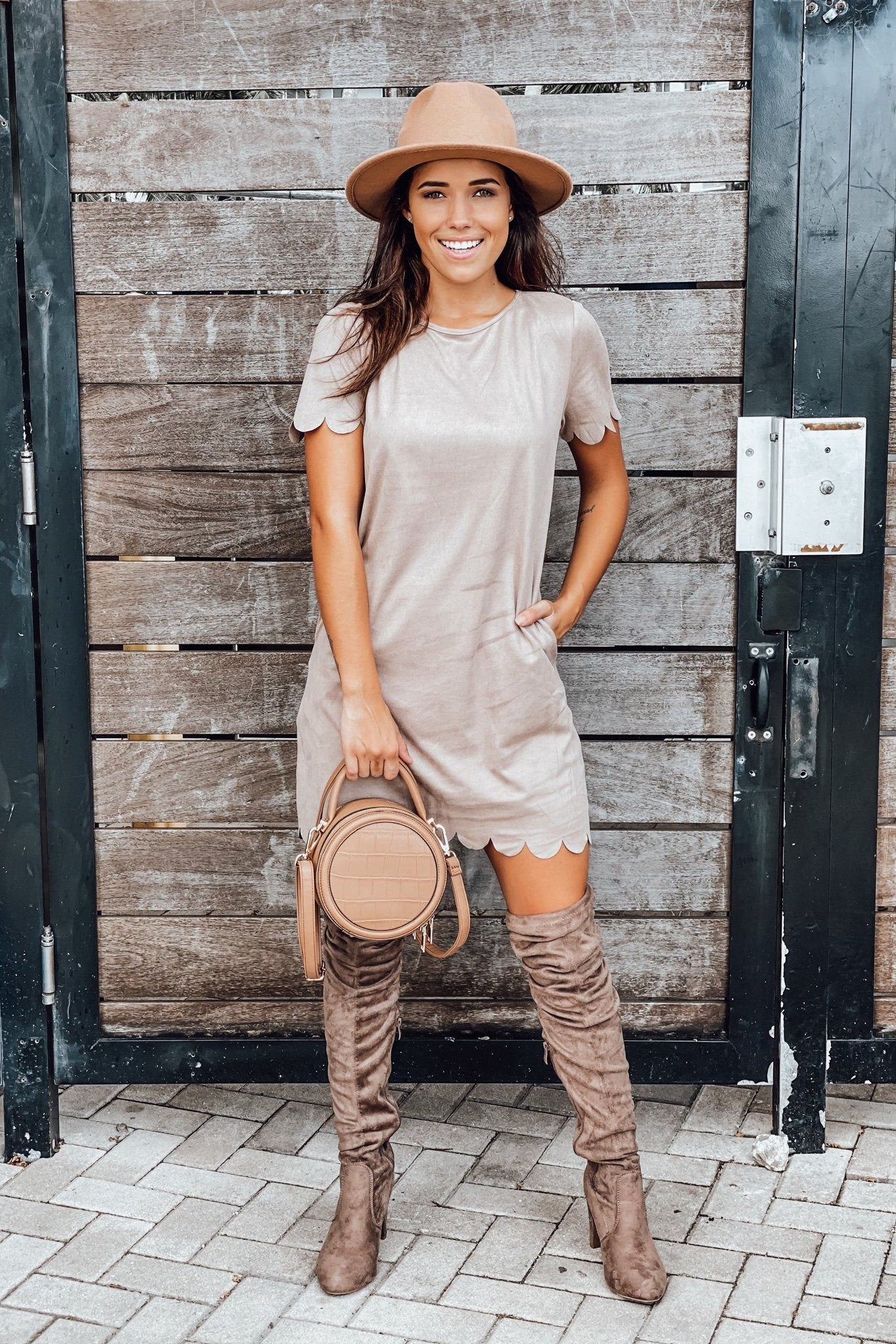 Mocha Short Dress with Scalloped Detail
