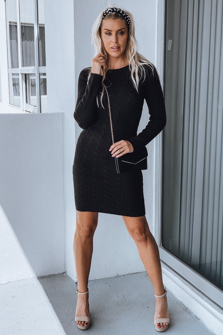 Black Knit Sweater Dress with Long Sleeves