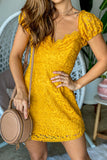 Marigold Crochet Short Dress
