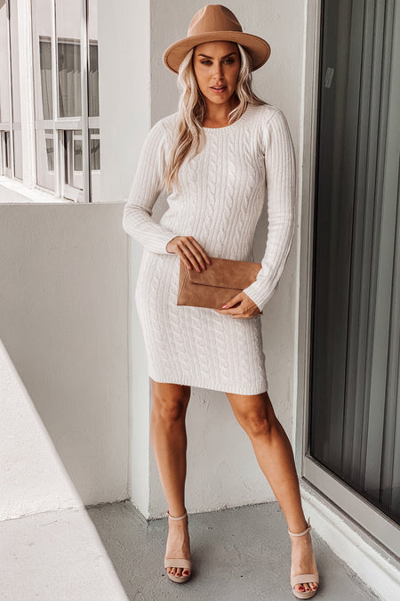Oatmeal Knit Sweater Dress with Long Sleeves