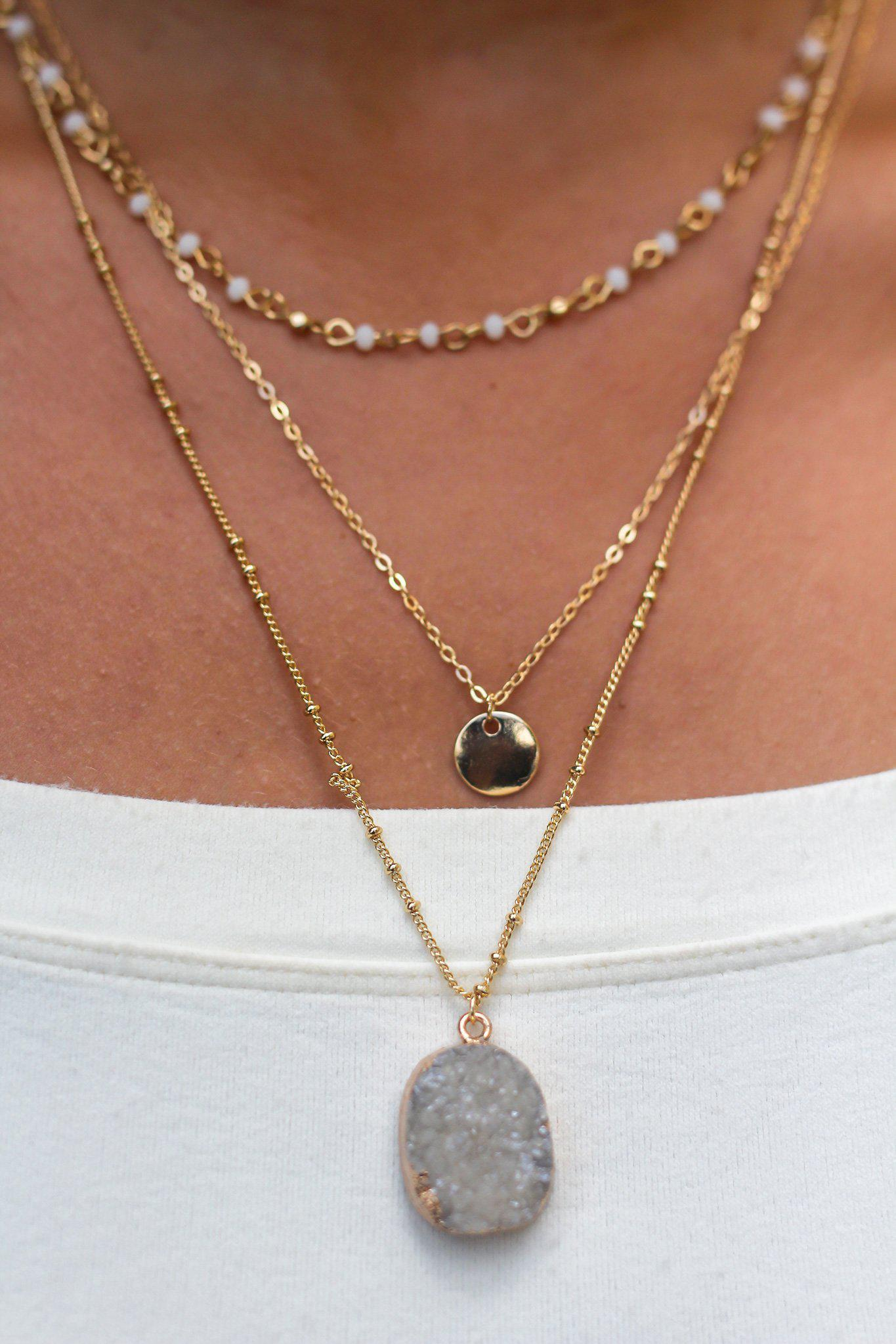 Gold Layered Stone Necklace