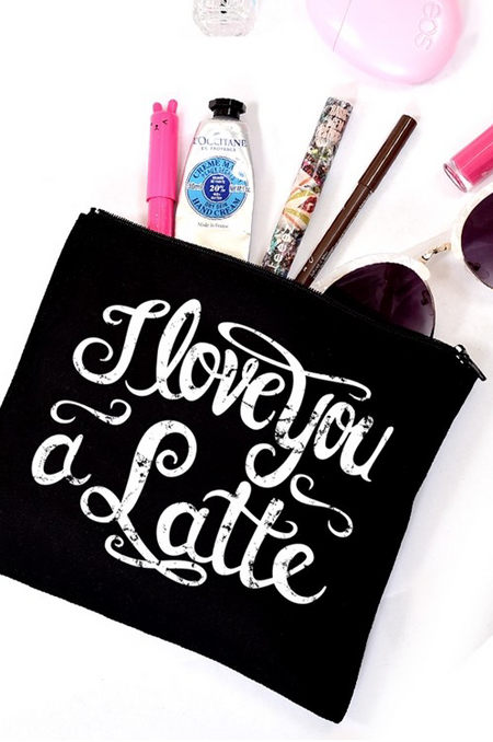 "Black ""I love you a Latte"" Makeup Bag"