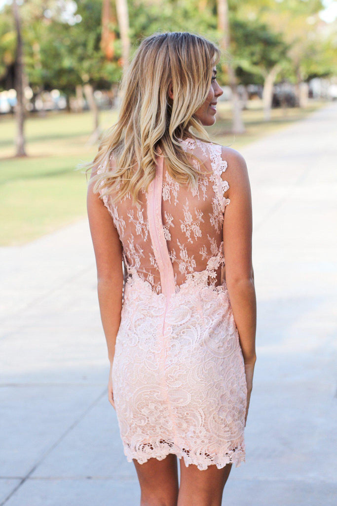 Ice Pink Lace Short Dress