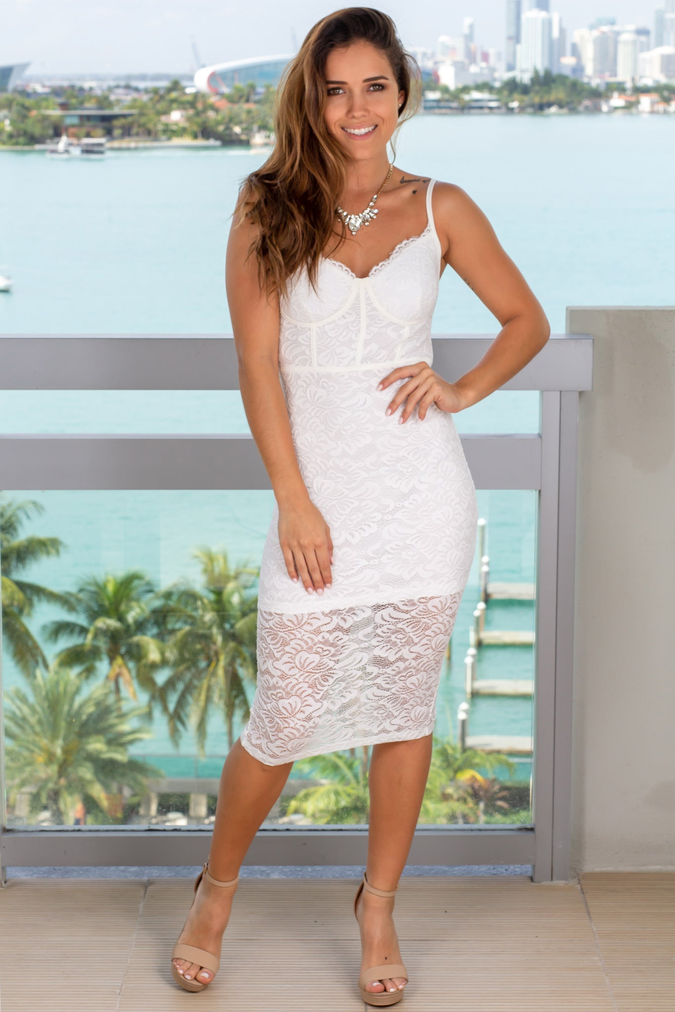 Ivory Midi Dress with Lace