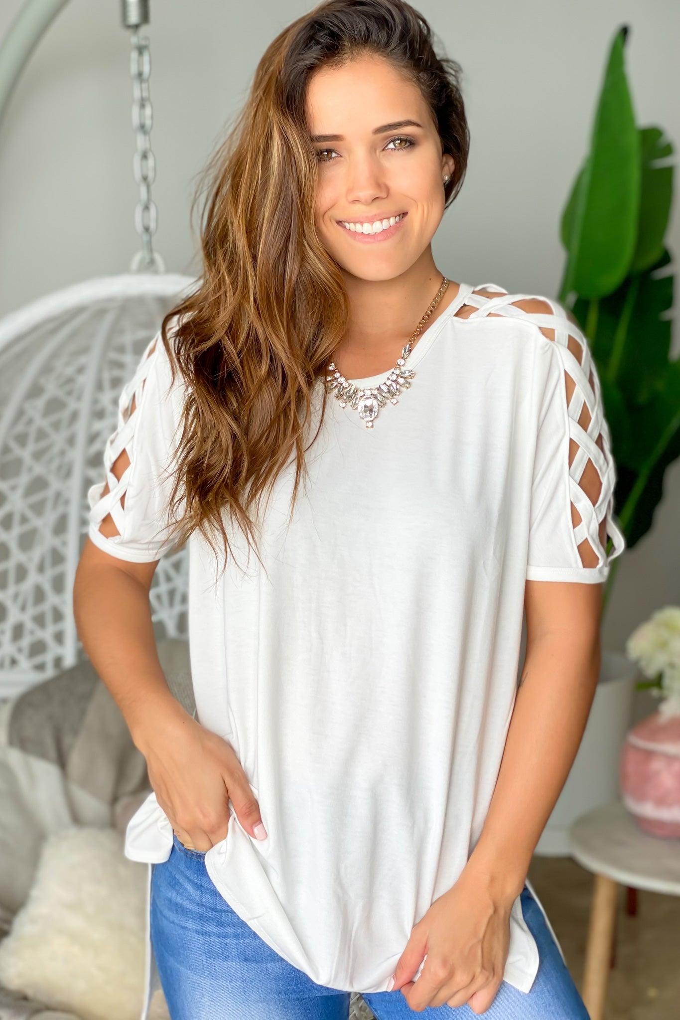 Ivory Oversized Top with Strappy Details